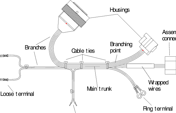 Typical wiring harness terminology and components