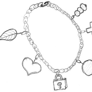 Charm bracelet concepts. From left to right: Links are