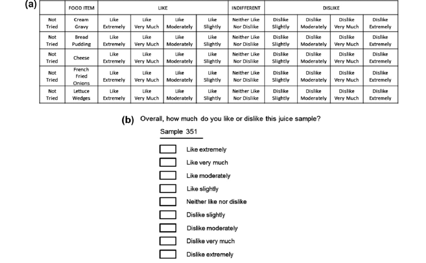 Examples Of The 9 Point Hedonic Scale A Questionnaire