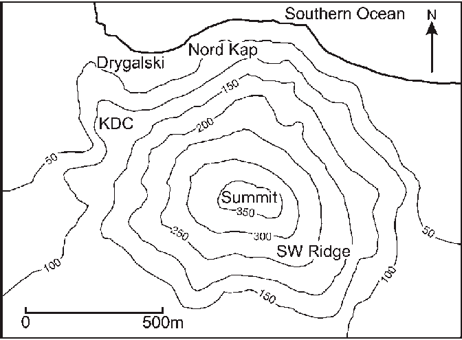 A topographic map of the Gaussberg volcanic feature