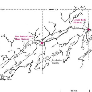 Map of the Exploits River watershed, insular Newfoundland
