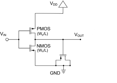 Schematics of our basic delay cell and a switch-based