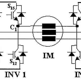 Schematic of dual inverter fed open end winding induction