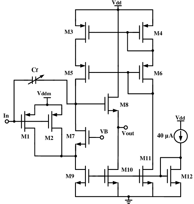 Circuit schematic of the CMOS charge-sensitive amplifier