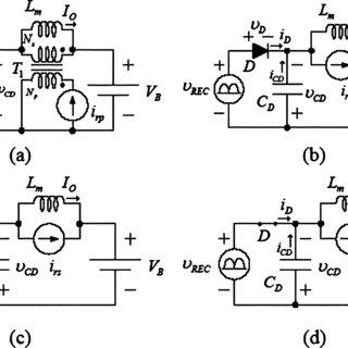 Equivalent circuits of electronic ballast. (a) ICS Class-E