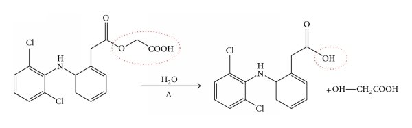 (a) Hydrolysis of ester linkage of ACE to give diclofenac