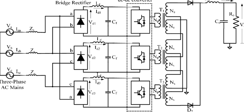 Schematic diagram of a modular three-phase three-wired
