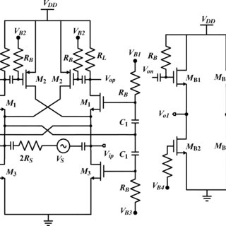 Schematic of the entire LNA with the output buffer