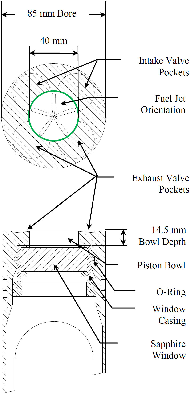 hight resolution of extended piston and combustion bowl geometry