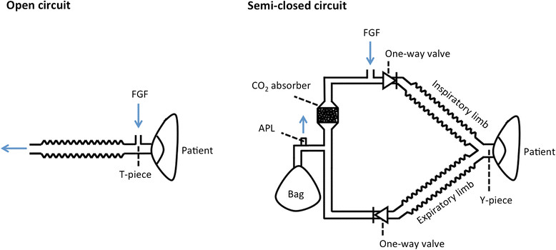 The schs. of an open circuit and a semi-closed circuit