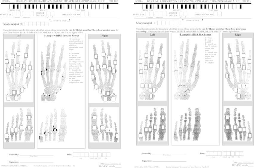 Heijde-modified Sharp Score (vdHSS) forms for scoring X