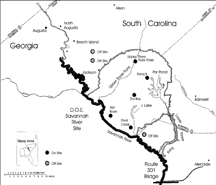 Map of Savannah River Site showing locations wherer