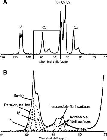 A representative CP/MAS 13 C-NMR spectrum from cellulose