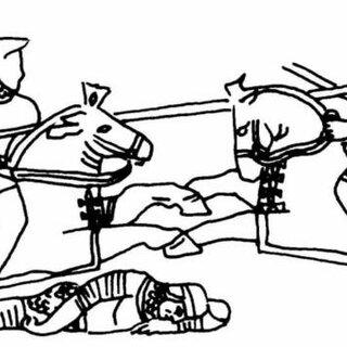 Savārān warrior engaged in horse archery. Recreations by