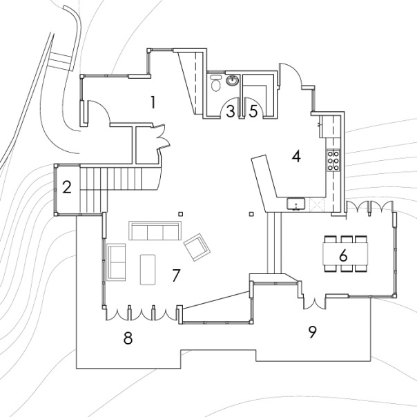 First Floor Plan-1. Entry 2. Stairs 3. Powder Room 4