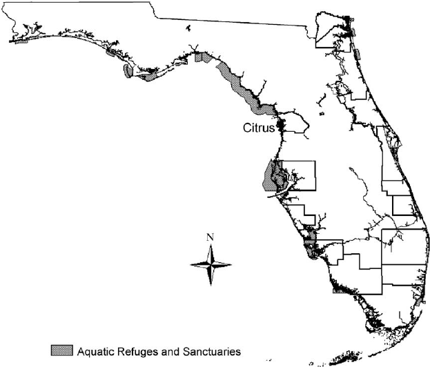 Location of Florida counties with winter aggregation sites