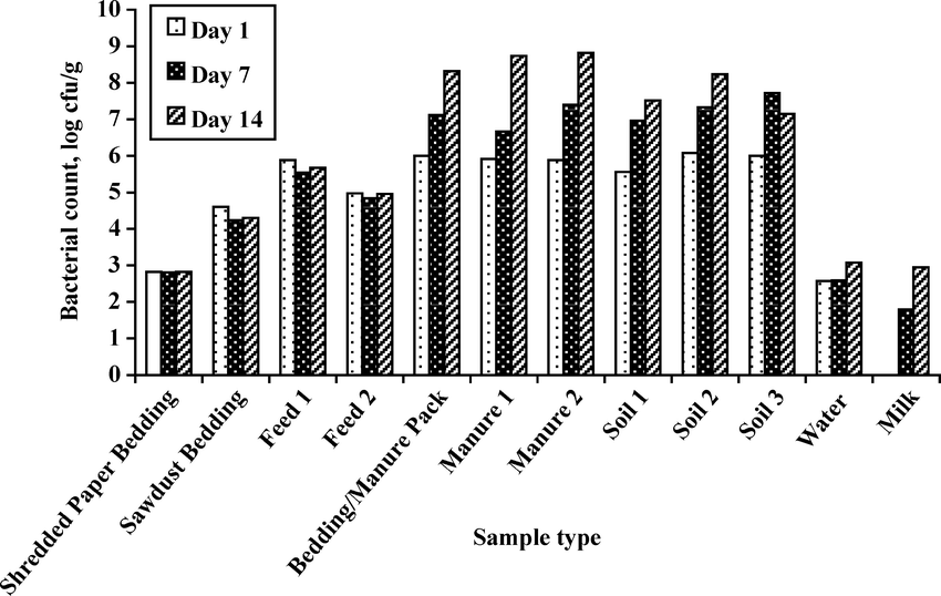 Total bacterial counts obtained from environmental and raw