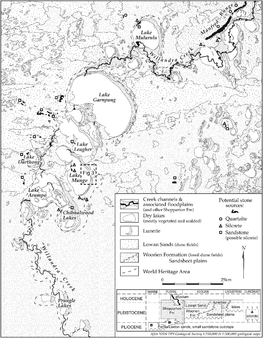 2 Geological map of the Willandra Lakes region showing the