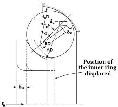 (a) Radial loading distribution; (b) Angular contact