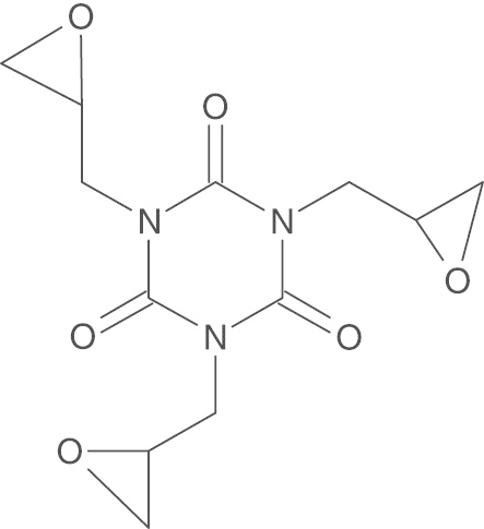 The chemical structure of triglycidyl isocyanurate (CAS no
