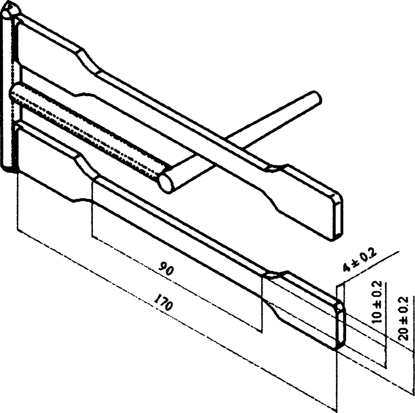Schematic of the injection molded specimen (all dimensions
