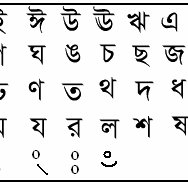 Basic characters of Bangla alphabet (first eleven are