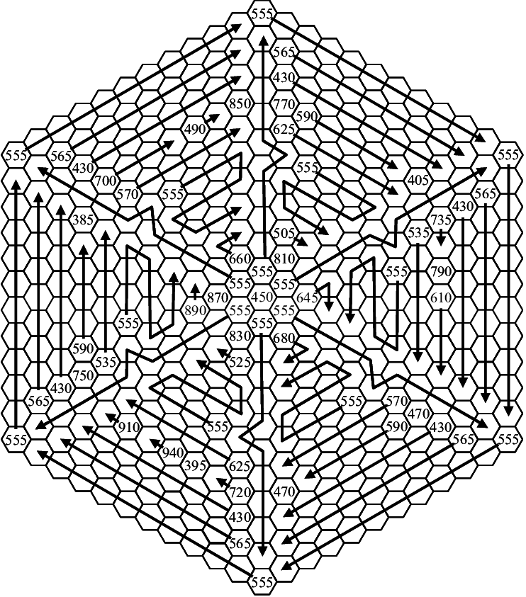 Schematic diagram of the LED module. Hexagons denote LEDs