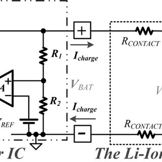 Simplified circuits of the charger IC and battery