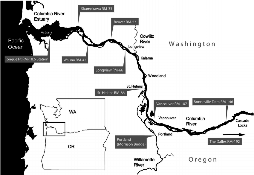 Location map for tide stations in the lower Columbia River