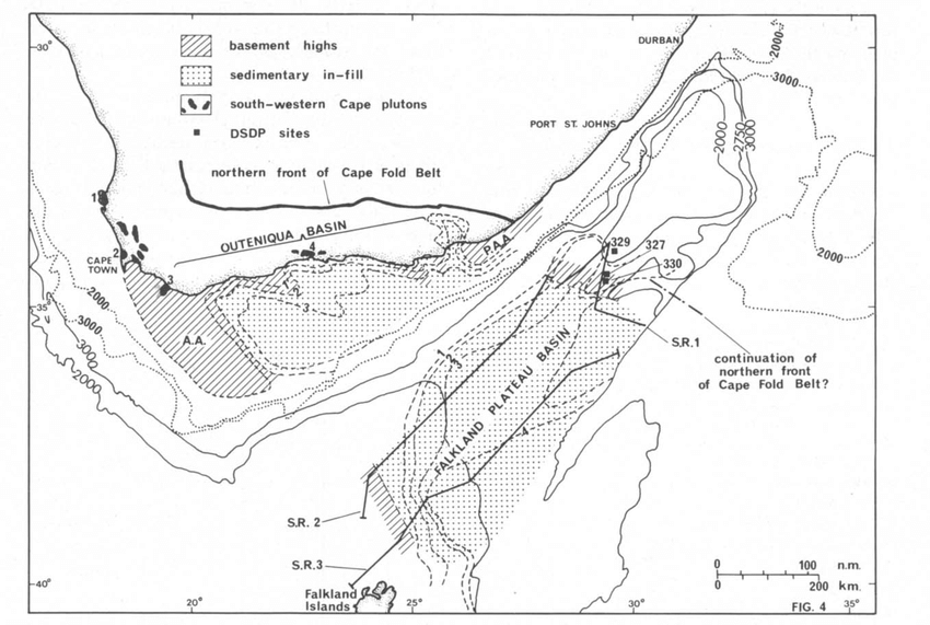Matching of features across the Agulhas/Falkland fracture