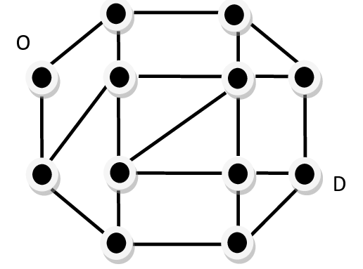 Schematic layout of a bridge network. Nodes and links
