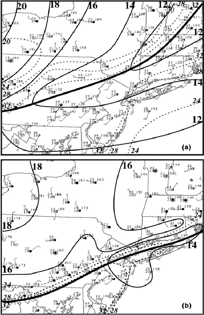Manual surface analysis at (a) 1800 UTC and (b) 2100 UTC