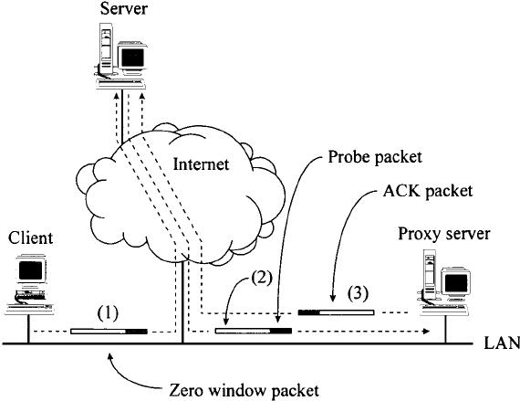Client–server-proxy server TCP flow showing proxy server