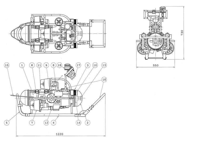 Plan of the ROV (1) pressure-resistant box, (2) acrylic