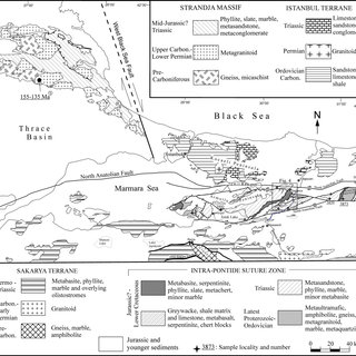 Geological map of Intra-Pontide suture and surrounding