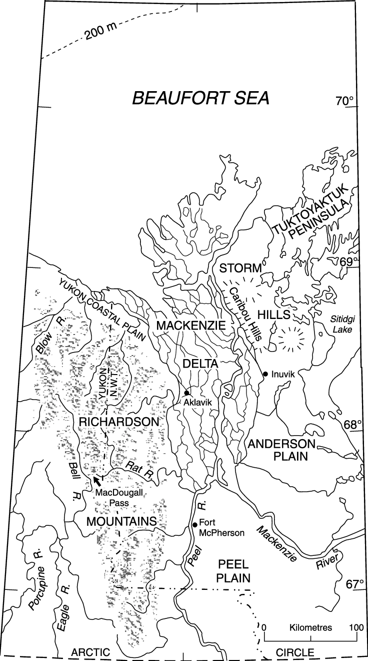 Geographic map of the Mackenzie Delta bordered by the