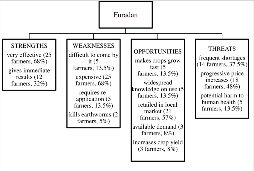 Results of the SWOT analysis of the application of furadan