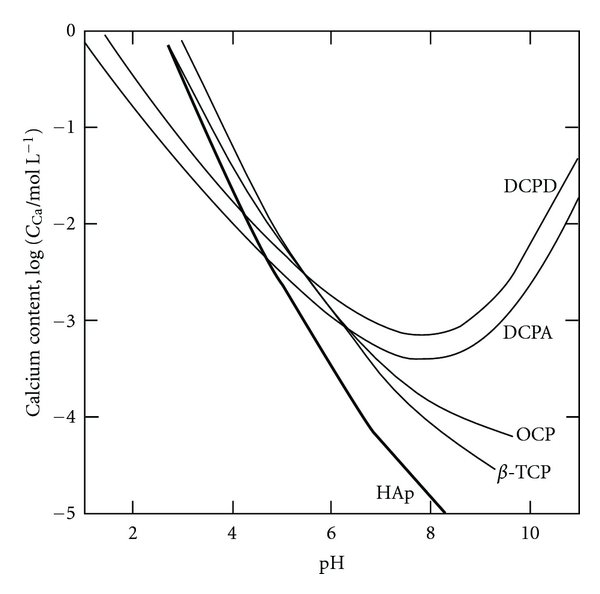 Solubility curves of calcium orthophosphoric compounds at