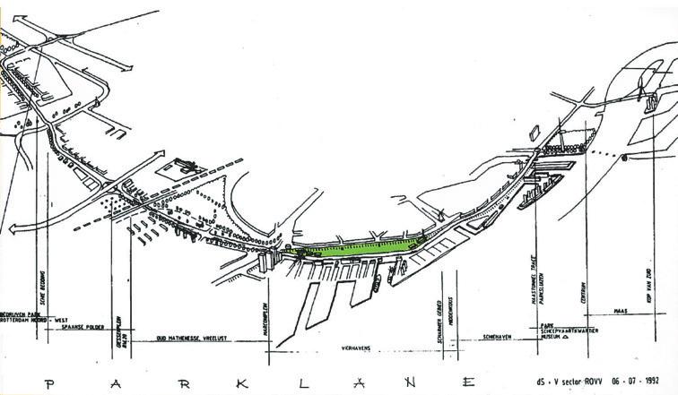 (below). Bird's eye view sketch of the 'parklane' concept