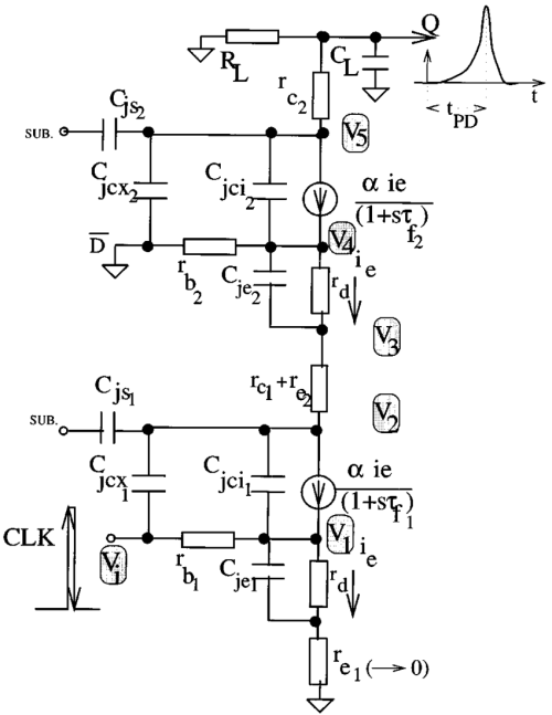 small resolution of equivalent circuit used in delay model for a series gated cml based xor circuit