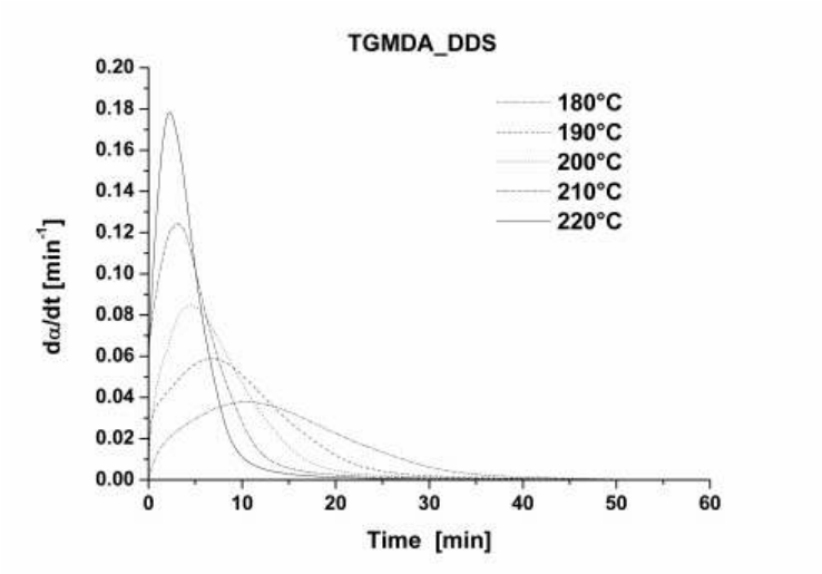 Isothermal reaction rate as a function of time at
