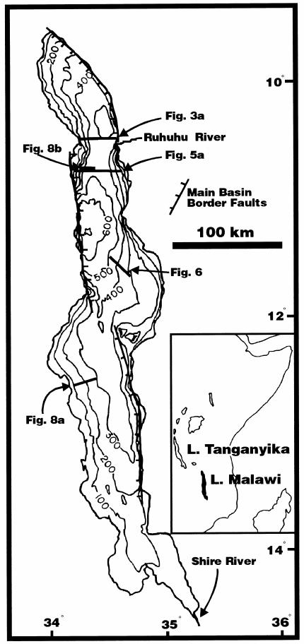 Lake Malawi bathymetry and seismic profile figure