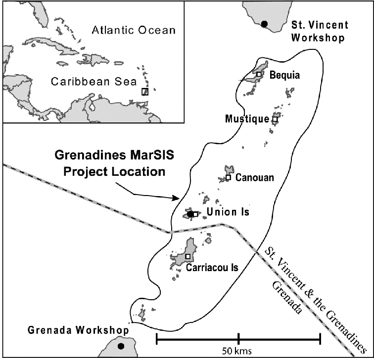 Location map of the Grenadines MarSIS project area in the