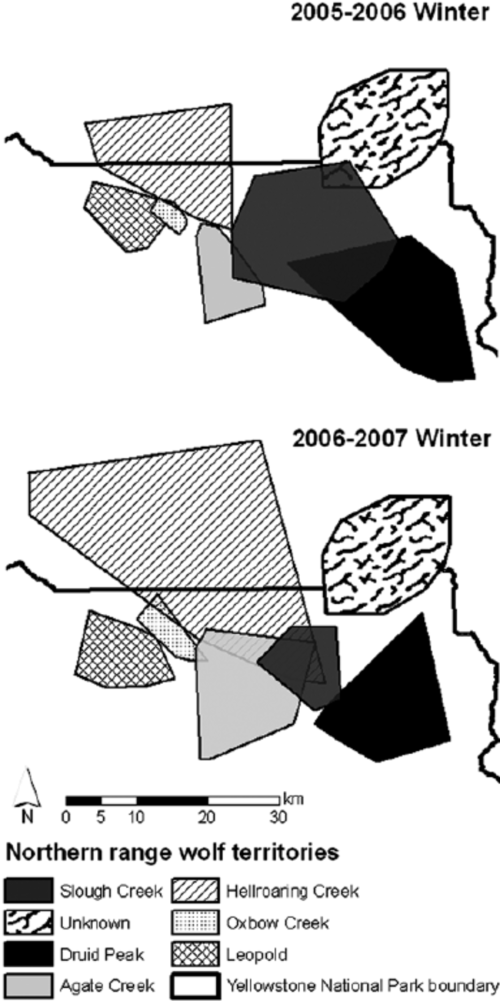 small resolution of  winter territories of northern range wolf packs canis lupus before 2005 2006 and after 2006 2007 the den attack that reduced the size of the slough