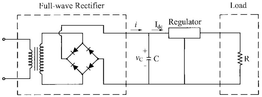 Full Wave Bridge Rectifier With Capacitor Filter And Regulator