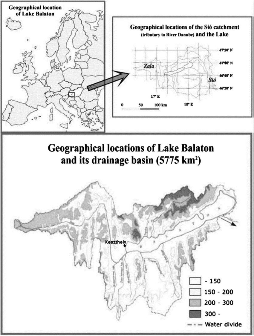 medium resolution of lake balaton in europe upper left with its artificial channel si upper right