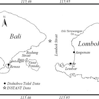 Chart of the Lombok Strait and the Location of Observed