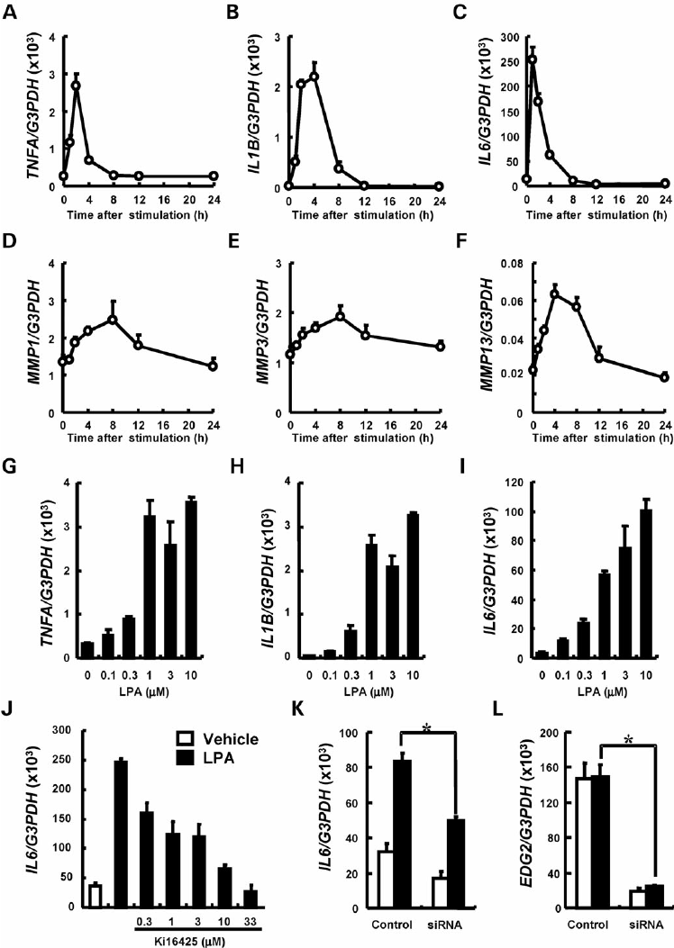 Induction of pro-inflammatory cytokines and MMPs by LPA