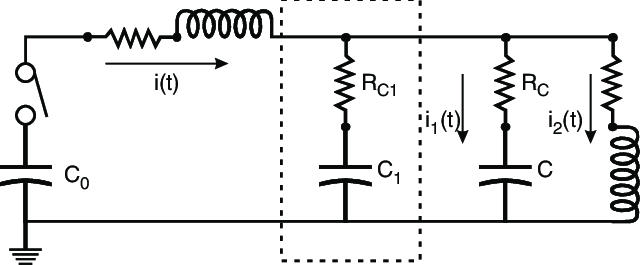 Basic circuit of a capacitor bank; L, C, R and R C