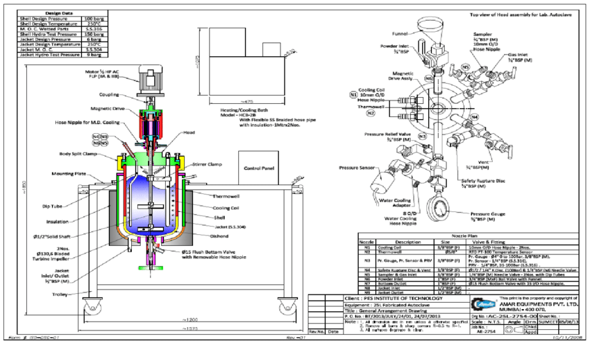 Engineering drawing of the reactor for trans